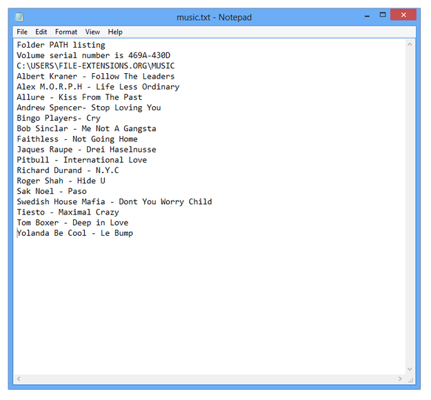 Windows Notepad view directory listing
