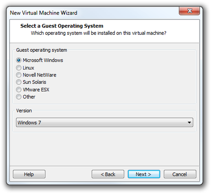 VMware Workstation Virtual Machine Wizard select OS