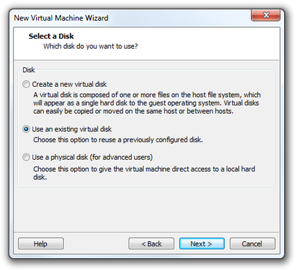 VMware Workstation Virtual Machine Wizard select disk