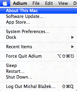 About This Mac menu