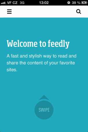 Feedly for iPhone Welcome Screen