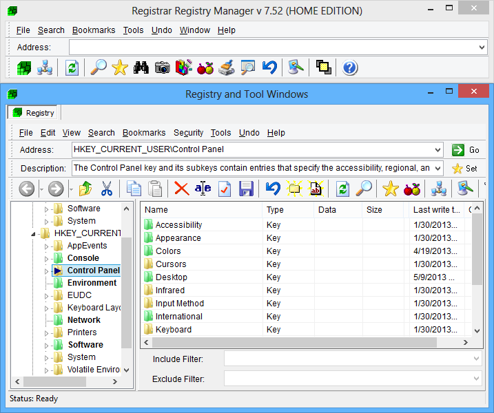 Registrar Registry Manager main window screenshot