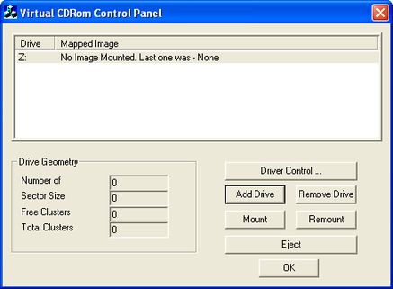 Virtual CDRom Control Panel create virtual drive