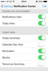 iOS 7 notification center settings