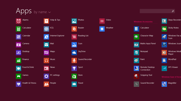 Windows 8.1 Blue Apps sorting