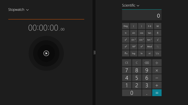 Windows 8.1 Blue Alarms and calculator