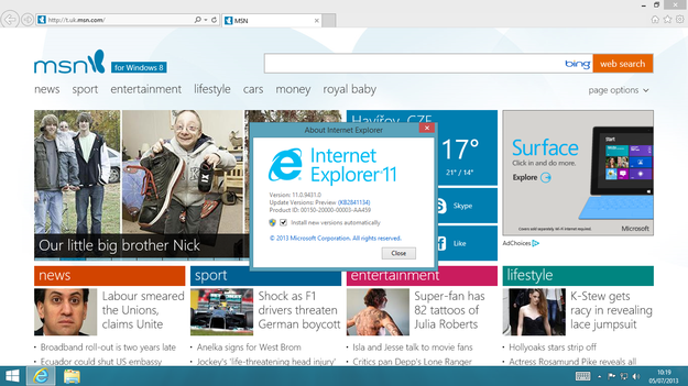 Windows 8.1 Blue Internet Explorer 11