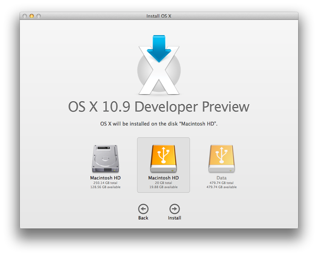 Apple Mac OS X Mavericks select installation partition