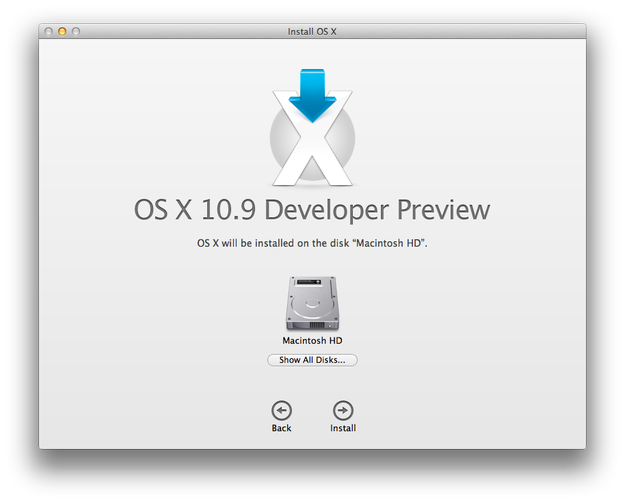 Apple Mac OS X Mavericks installation