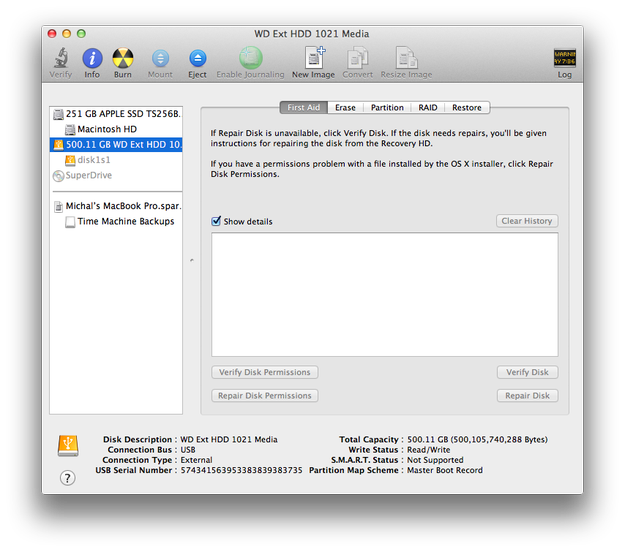Apple Disk Utility external drive settings
