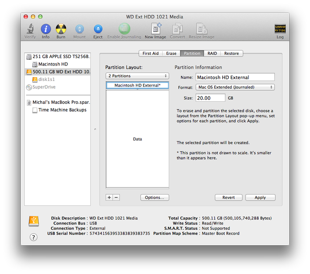 Apple Disk Utility partition settings