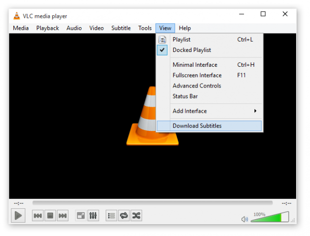VLC media player Download Subtitles option
