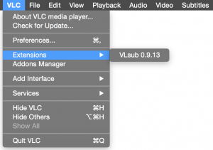 VLC Player for Mac Extensions menu