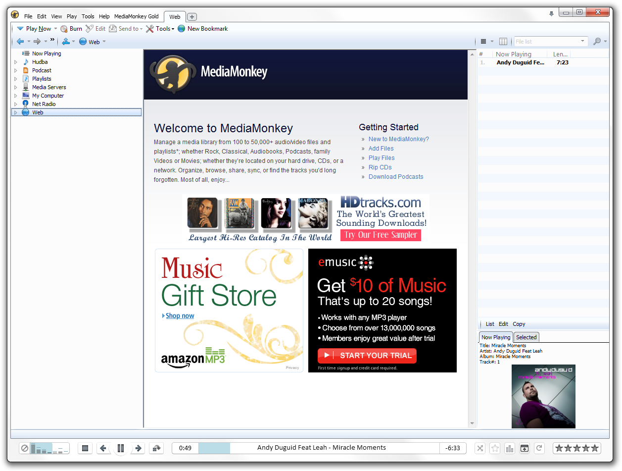 MediaMonkey music player screenshot