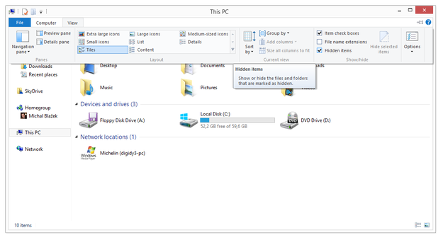 Windows 8 show hidden files and folders