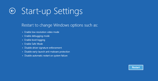 Windows 8 start-up settings