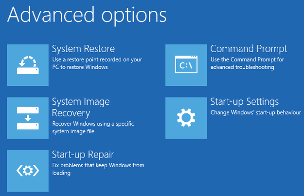 Windows 8 troubleshoot Advanced options