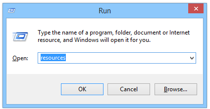 Windows 8 Run open resources folder