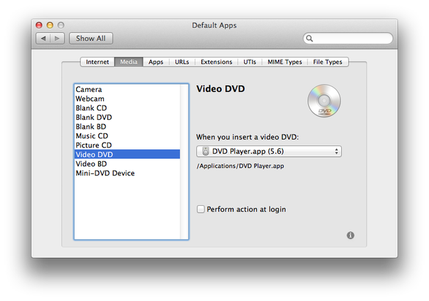RCDefaultApp manage CD DVD actions