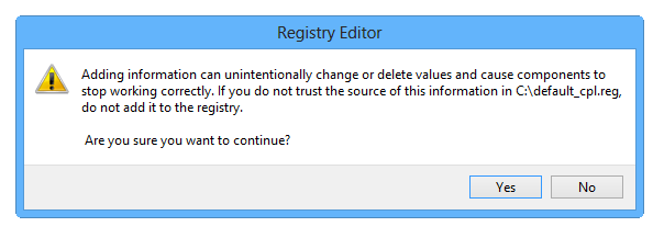 Registry import message