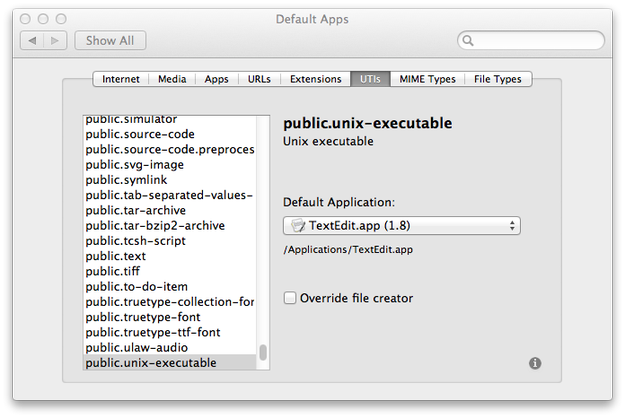 RCDefaultApp UTIs settings