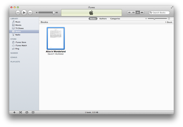 Ebooks in iTunes library