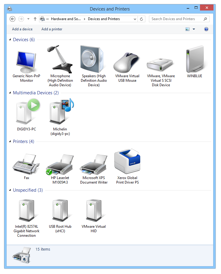 Devices and Printers control panel in Windows 8