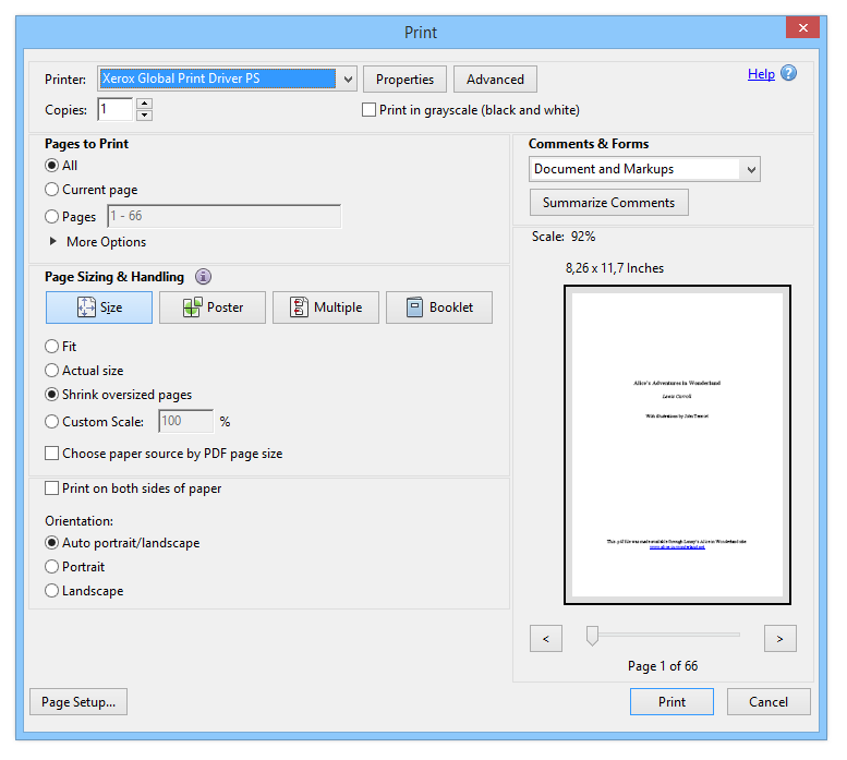 Printing setup window with PS virtual printer selected