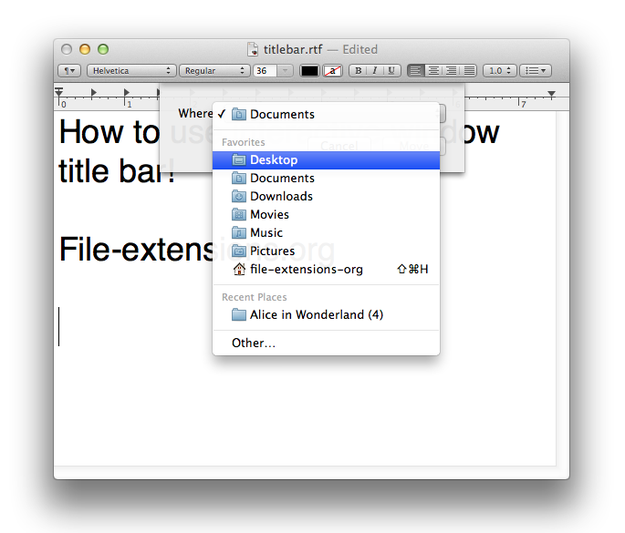 OS X window title bar move to
