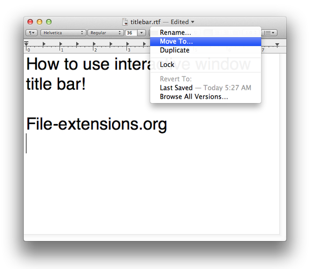 OS X interactive window title bar