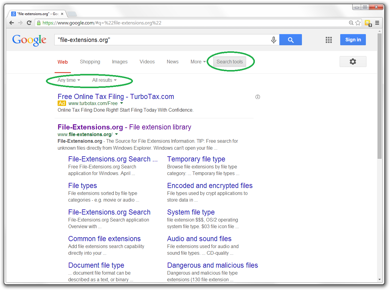 Search Tools for Google Search