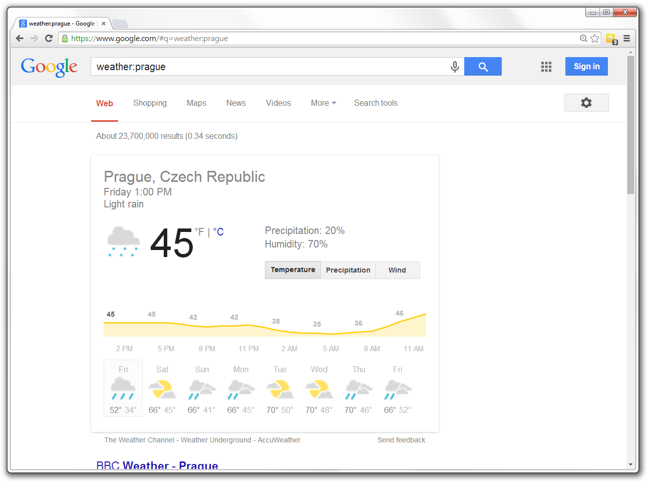 Weather: operator in Google Search