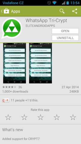 WhatsApp Tri-Crypt in Google Play