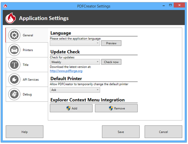 PDFCreator application settings