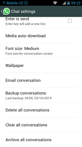 WhatsApp for Android create backup