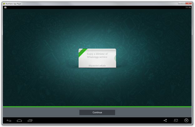 WhatsApp installation to Bluestacks finished