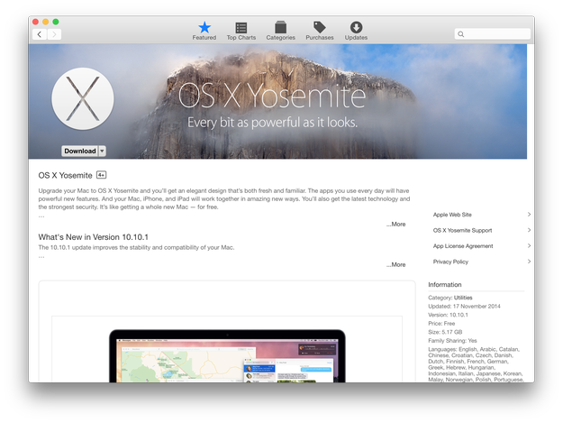 Download OS X Yosemite from App Store