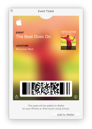 Event ticket viewed in pass viewer included in macOS (OS X)