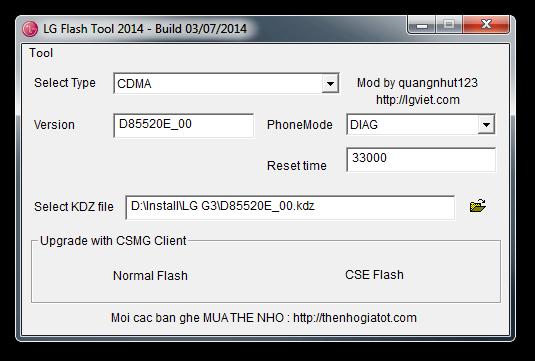 Install KDZ firmware to LG smartphone