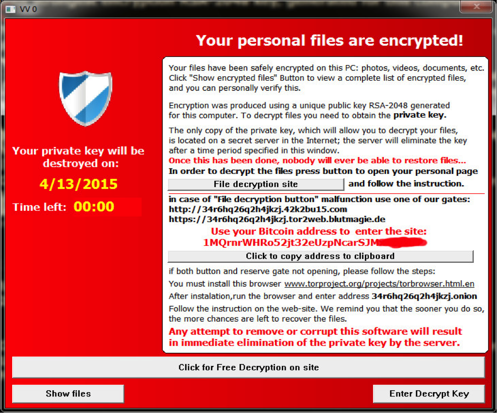 A typical TeslaCrypt ransomware window