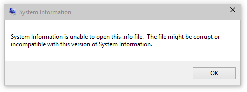 System Information error window