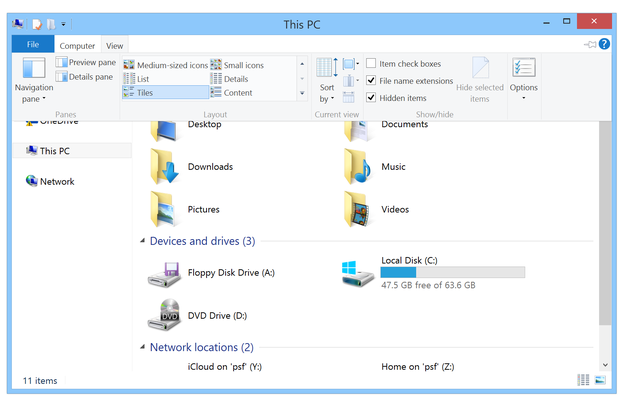 Show and hide file extensions in Windows 8.1 file explorer