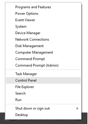Microsoft Windows 10 Control Panel option