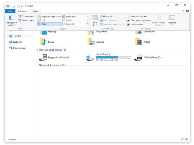 Microsoft Windows 10 show file extensions option