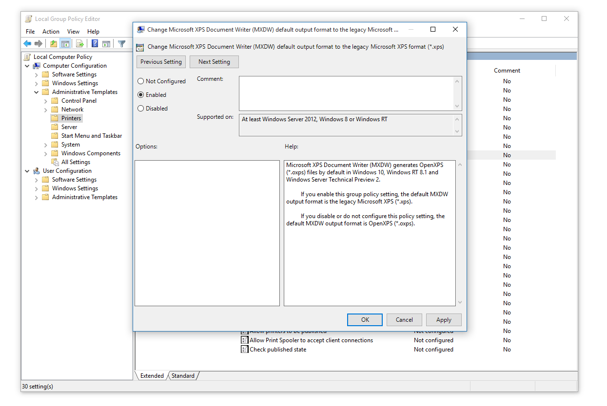 Enabling the MXDW related group policy in Windows 10