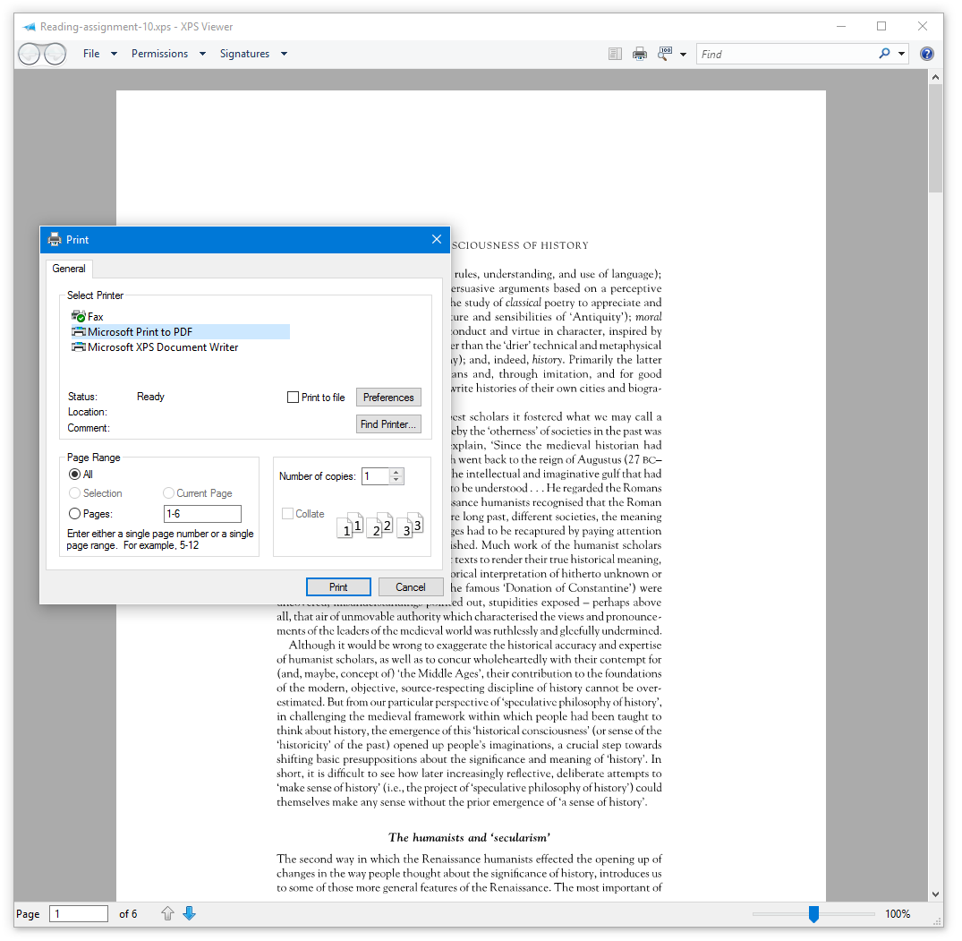 Oxps to Pdf conversion step 2