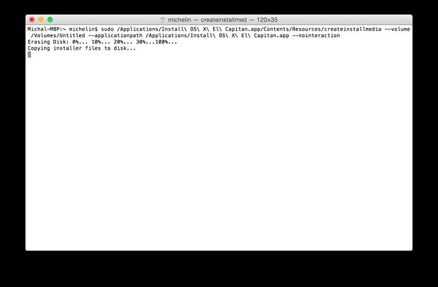 Create OS X El Capitan USB bootable drive