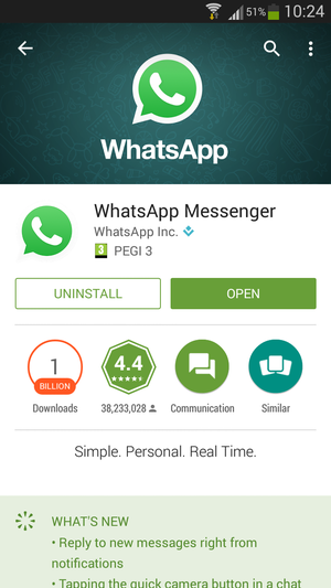 WhatsApp in Google Play Store