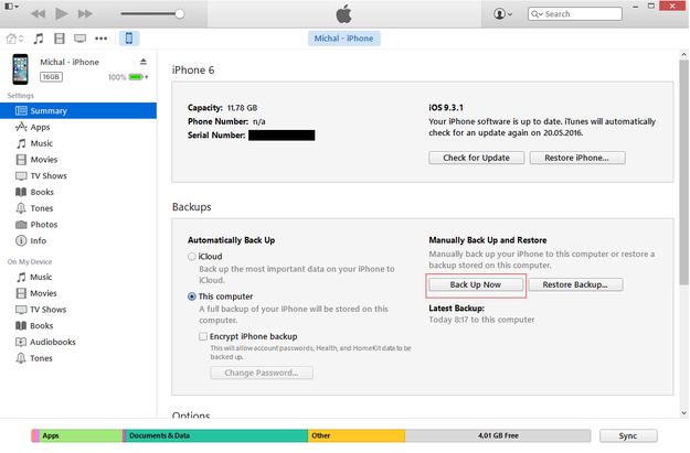 iTunes create iPhone backup