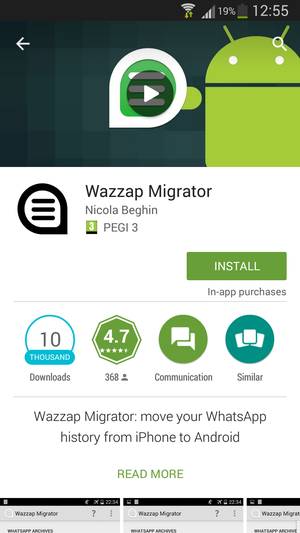 WazzapMigrator in Play Store